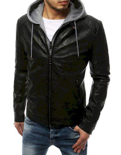 Kožená pánská bunda se zapínáním na zip a bavlněnou kapucí