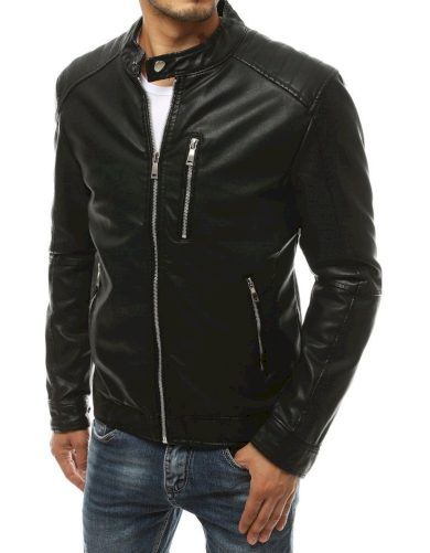 Pánská kožená bunda černá se stojatým límcem na druk