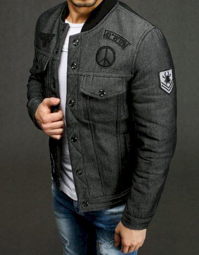 Tmavě šedá pánská džínová bunda s nášivky