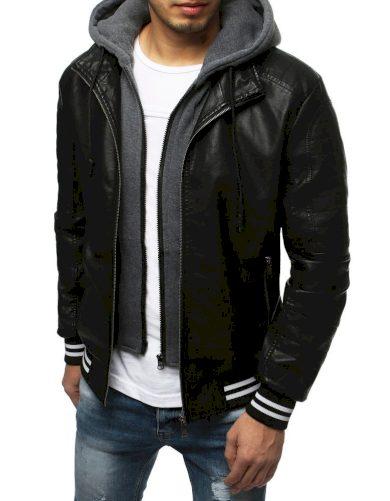Pánská kožená bunda s odnímatelnou vestou a kapucí