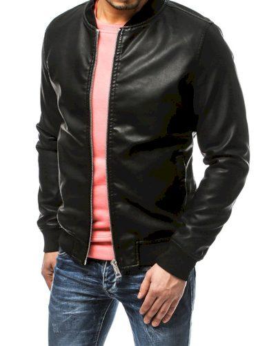 Klasická koženková pánská bunda z umělé kůže na zip