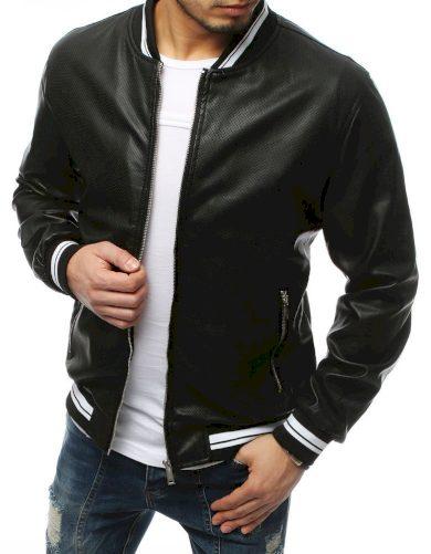 Pánská kožená přechodová bunda s dekorativními proužky