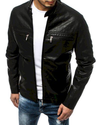 Pánská koženková prošívaná bunda bez kapuce černá