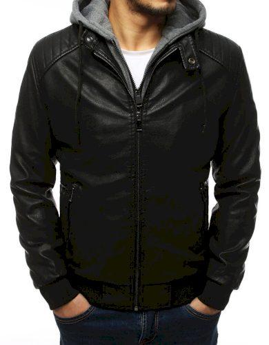 Pánská kožená bunda s odnímatelnou kapucí z bavlny