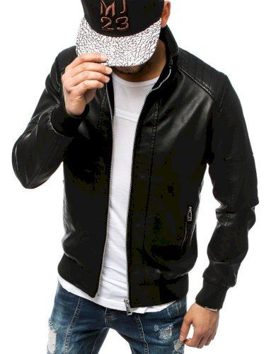 Koženková pánská bunda s podšívkou a prošíváním na ramenou