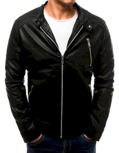 Pánská kožená bunda motorkářská s prošívanými detaily