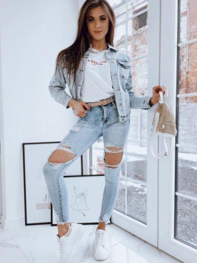 Oversize džínová bunda dámská riflová bundička s kapsami