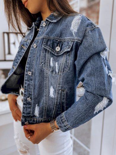 Nadměrná džínová bunda oversize riflová bunda s dírkami