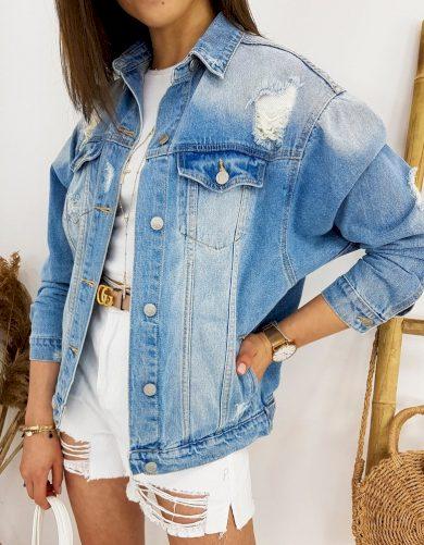 Denim džínová bunda oversize riflová bunda s oděrkami