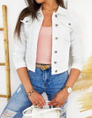 Džínová bílá bunda riflová mini s límcem a knoflíky
