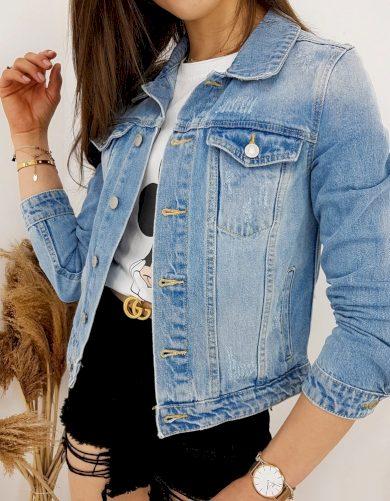 Klasická a nadčasová džínová bunda na knoflíky s odřeniny