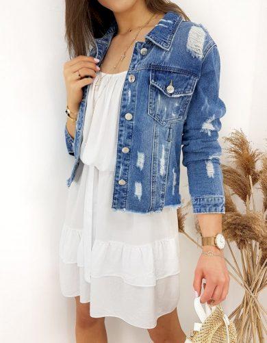 Roztrhaná riflová Bunda džínová bundička s oděrkami
