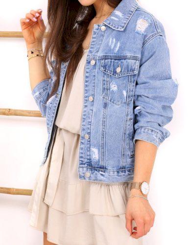 Děrovaná džínová bunda Katana riflová bunda s oděrky