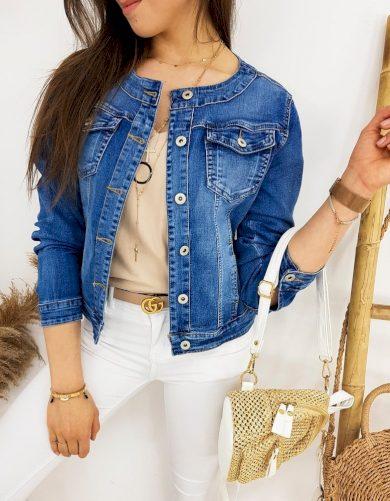 Krátká riflová bunda bomber džínová bunda s kulatým límcem