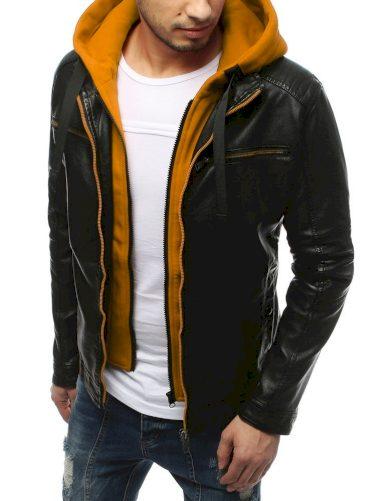 Pánská kožená bunda s odnímatelnou vestou s kapucí