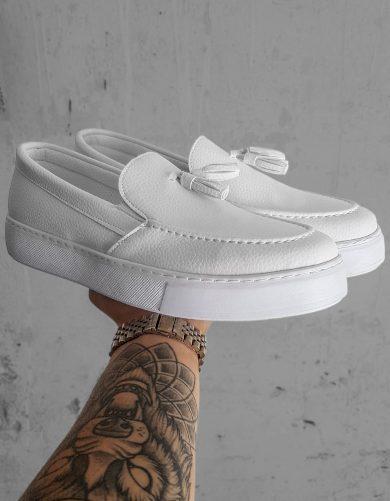 Pánské boty polobotky / mokasíny bílé ZX0178
