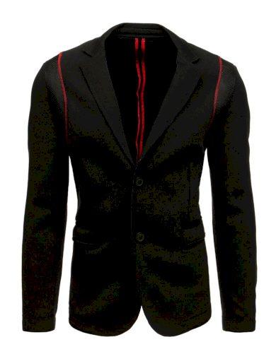 Pánské černé sako s červenými pruhy sako na knoflíky