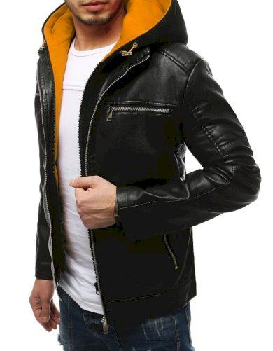 Pánská kožená přechodová bunda s kapucí a stojatým límcem