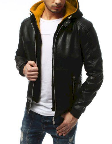 Pánská kožená přechodová bunda s kapucí