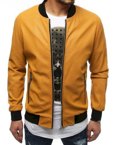 Pánská kožená přechodová bunda na zip s kulatým výstřihem