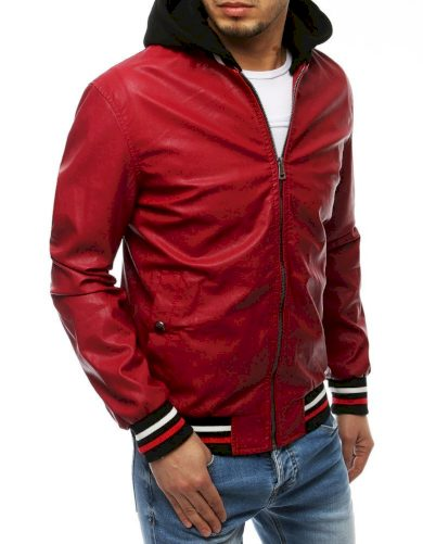 Pánská kožená přechodová bunda s pruhy a odnímatelnou kapucí