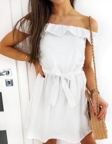 Bavlněné šaty s odhalenými rameny a volánky na léto