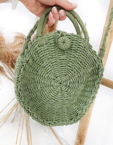 Stylová pletená kabelka kulatého tvaru