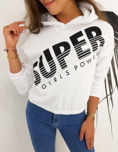 Dámská mikina SUPER GIRLS bílá barva Dstreet