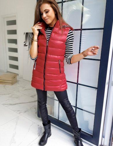 Prošívaná vesta dámská prodloužená vesta s kapucí
