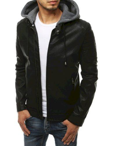 Univerzální pánská kožená bunda s teplákovou kapucí