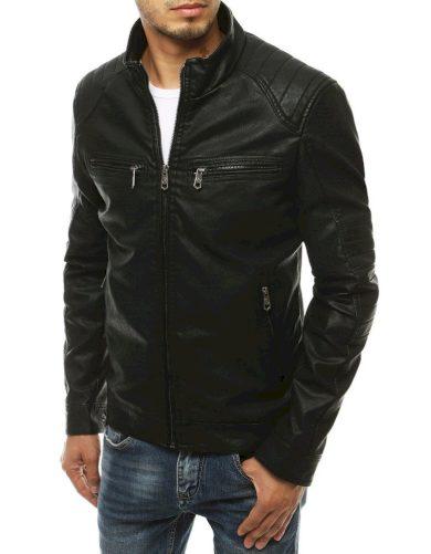 Pánská kožená bunda s kapsami na zip bunda s žebrováním