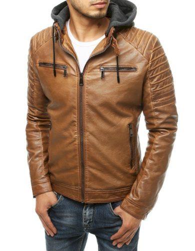Černá pánská kožená bunda se zipy na hrudi a žebrováním