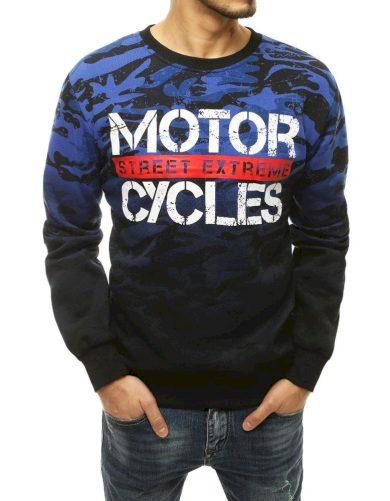 Maskáčová mikina bez kapuce svetr s nápisem MOTOR CYCLES