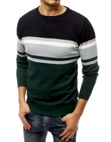 Vlněný pánský svetr s barevnými pruhy a kulatým výstřihem