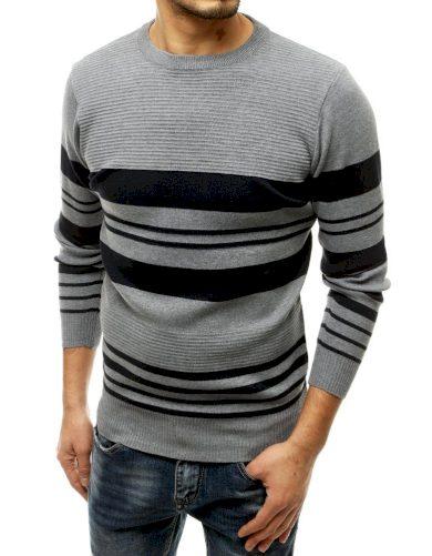 Dvoubarevný pánský svetr pruhovaný pulovr z jemné vlny