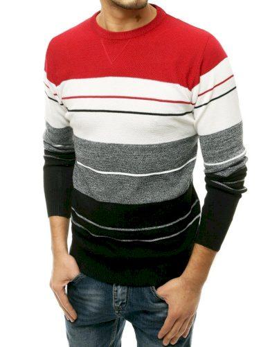 Barevný pánský svetr s pruhy vlněný pulovr s kulatým výstřihem