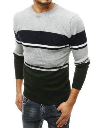 Vlněný svetr pánský v kontrastních barvách a kulatým výstřihem