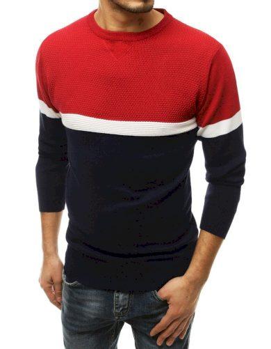 Tříbarevný pánský svetr z jemné vlny a kulatým výstřihem