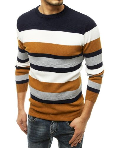 Pruhovaný svetr pánský vlněný pulovr v kontrastních barvách
