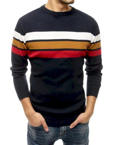 Vícebarevný pánský svetr pruhovaný pulovr s kulatým výstřihem