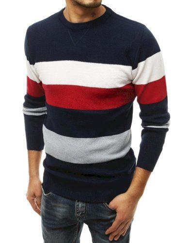 Kotrastní pánský svetr vlněný pulovr s pruhy