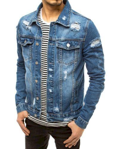 Pánská džínová bunda děrovaná riflová bundička s oděrky