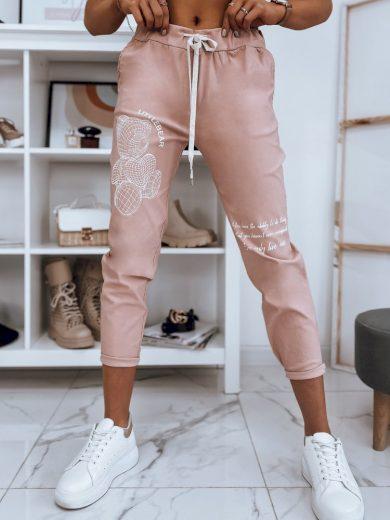Dámské kalhoty s potiskem a vysokým pásem
