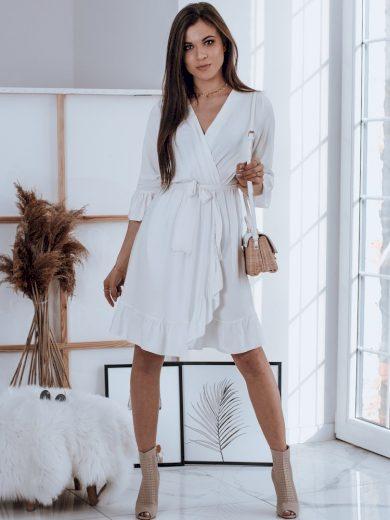 Elegantní letní šaty s volány a výstřihem do v
