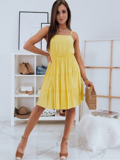 Jednobarevné šaty na léto s volnou volánovou sukni POLA Dstreet