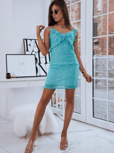 Pouzdrové šaty s puntíky a ozdobnými volány