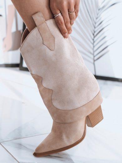 Dámské boty polokozačky se špičatou špičkou LANIA béžové