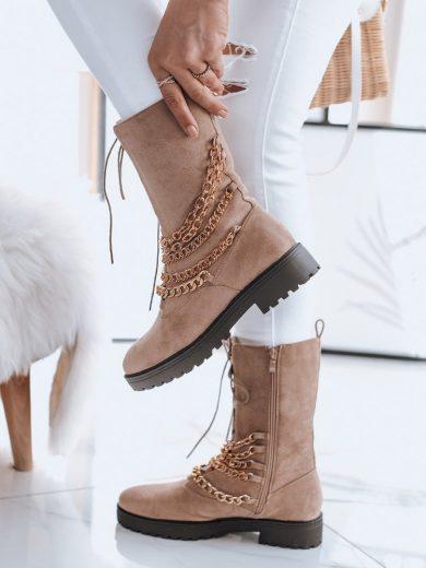 Dámské boty s řetězem KSANTI béžové ZY0031