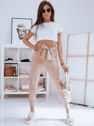Kalhoty dámské CLASSY béžové Dstreet
