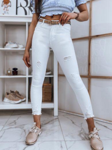 Dámské riflové kalhoty džíny MISSE bílé Dstreet